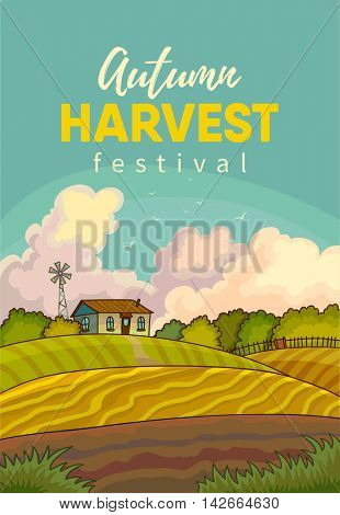 Farm rural landscape with field. Illustration harvesting crops. Vector background with harvest.