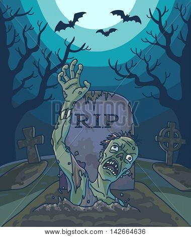 Halloween vector illustration with spooky zombie dead man, moon and grave. Background with scary landscape with graveyard to night. Horror holiday design.