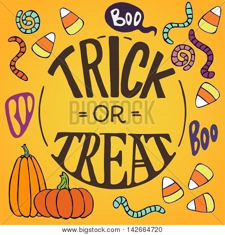 Set of colorful hand drawn halloween doodles with cartoon candy corns pumpkins worms and other elements. Trick or threat hand lettering.