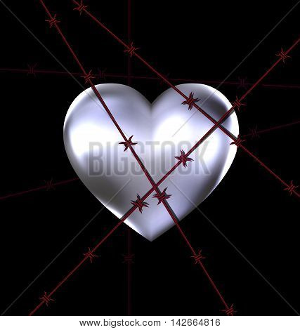dark background and the big iron heart with red wire