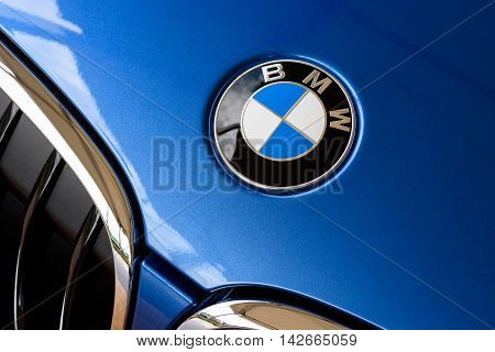 Wroclaw Poland August 14 2016 - Close up detail logo of the front of a BMW car