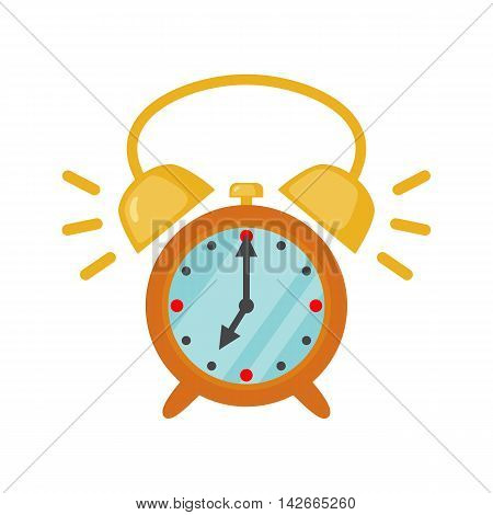 Alarm clock icon in flat style isolated on white background. Vector illustration
