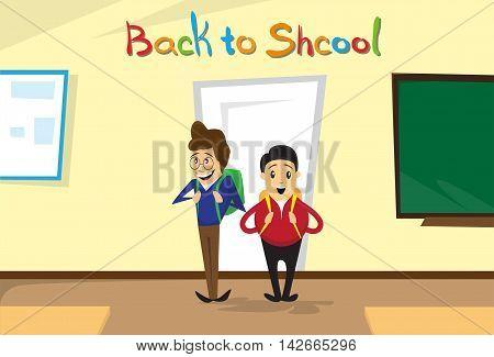 Schoolboys Enter Class Room Back To School Education Banner Flat Vector Illustration