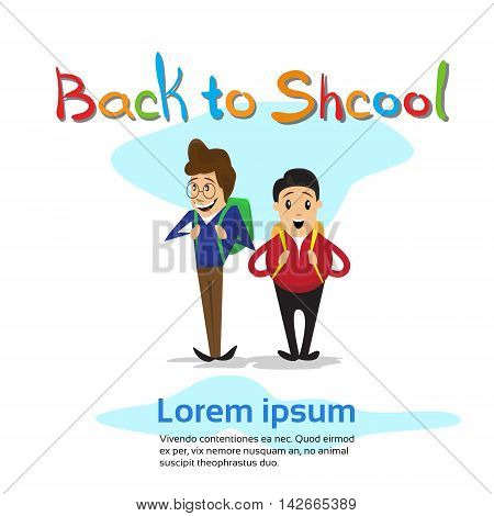 Schoolboys Back To School Education Banner Flat Vector Illustration