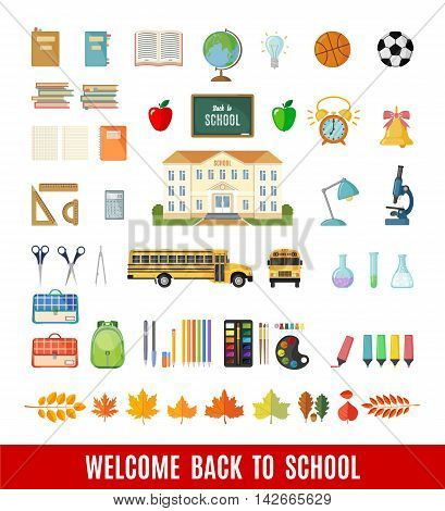 Set of school icons in flat style. Selection of various individual school supplies on white background. Vector illustration