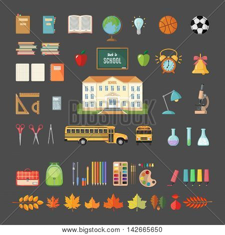 Set of school icons in flat style. Selection of various individual school supplies on gray background. Vector illustration