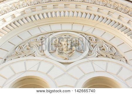 The bas-relief with the image of an angel on a facade of The Ascension Cathedral, Novocherkassk, Russia