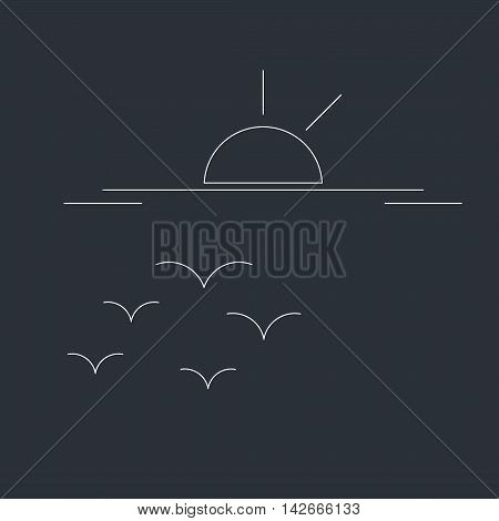 Outline sunset abstract landscape drawing - black white outline. Vector outline sunset or sunrise icon landscape beach. Sunset or sunrise logo design. Vector summer sea silhouette outline sunset.