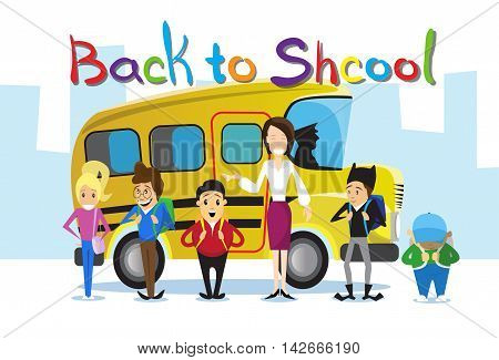 Teacher With Pupils Over Yellow Schoolbus Back To School Education Banner Flat Vector Illustration