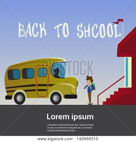 Schoolboy Go To Yellow School Bus Flat Vector Illustration