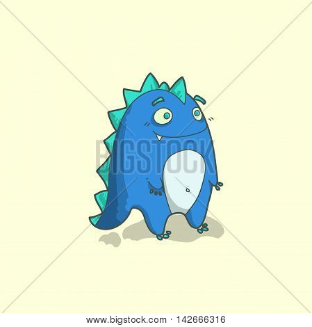funny dragon character in cartoon style. Blue color. Vector illustration.