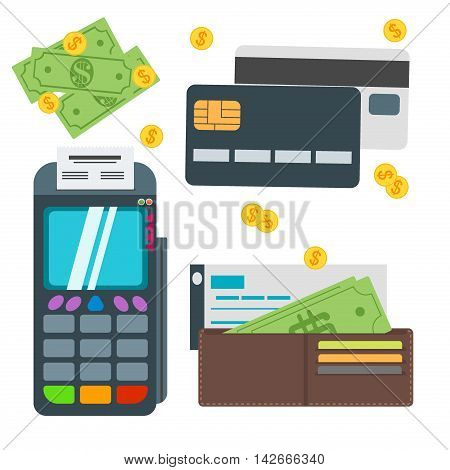 Shopping payment set. Flat concept vector illustration set of payment methods such as credit card website nfc technology mobile app atm and terminal money transfer paying by cash and invoice.