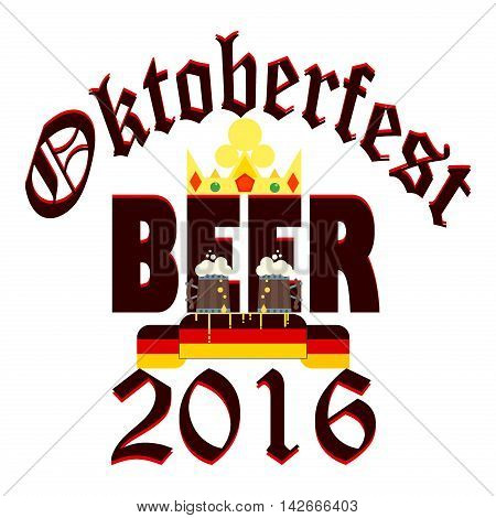 Oktoberfest celebration design with bavarian mug alcohol party vector crown symbol. Oktoberfest design with beer glasses. Traditional munich symbol bar drink vintage celebration october retro flag.