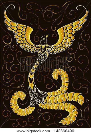 Golden doodle bird with ornaments on black background