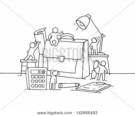 Sketch of working little people with case. Doodle cute miniature scene of workers with stationery. Hand drawn cartoon vector illustration for business design.