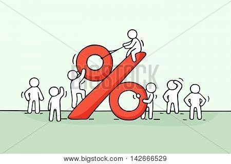 Sketch of working little people with big percent sign. Doodle cute miniature scene of workers and financial symbol. Hand drawn cartoon vector illustration for business design.