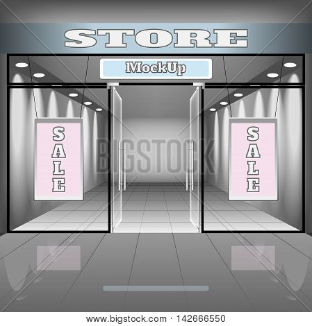 realistic store or office interior template. Boutique illustration with shopwindow shelves sale banners.