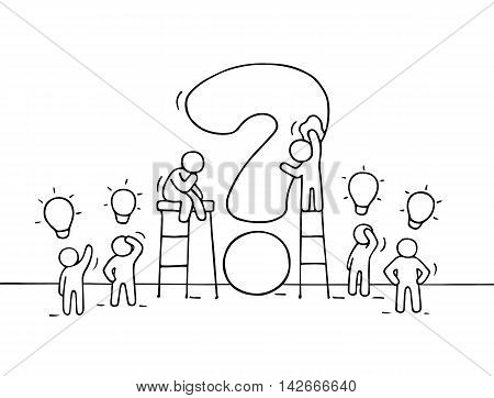 Sketch of working little people with big question and lamp ideas. Doodle cute miniature scene of workers trying to solve problem. Hand drawn cartoon vector illustration for business design.