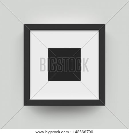 Black square blank picture frame for photographs. Vector realisitc paper or plastic black picture-framing mat with wide borders shadow. Isolated picture frame mockup template on wall background