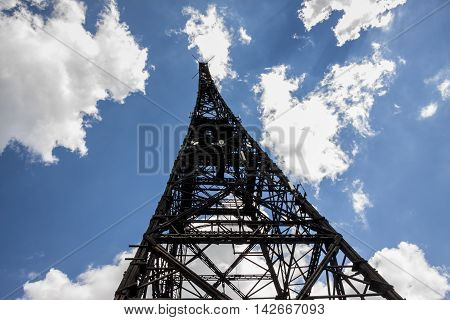 Historic radiostation tower in Gliwice Poland (the highest wooden building on the world - 111m). The place of Nazi provocation on August 31 1939.