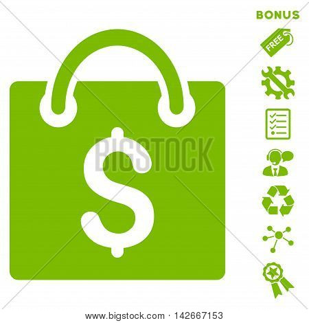 Shopping Bag icon with bonus pictograms. Vector illustration style is flat iconic symbols, eco green color, white background, rounded angles.
