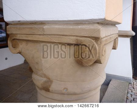 Old Decorative Supporting Column Of Vault