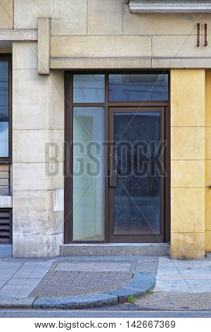 Glass Door Entrance at Old Commercial Building