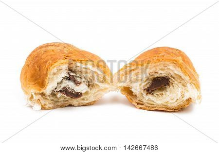 croissant with chocolate cream on a white background