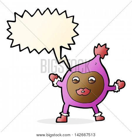 cartoon funny creature with speech bubble