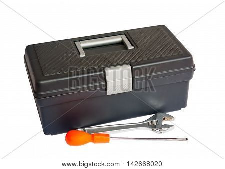 Black tool box,  screwdriver and wrench isolated