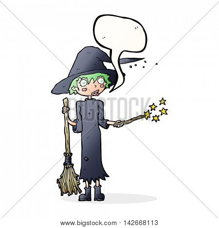 cartoon witch casting spell with speech bubble