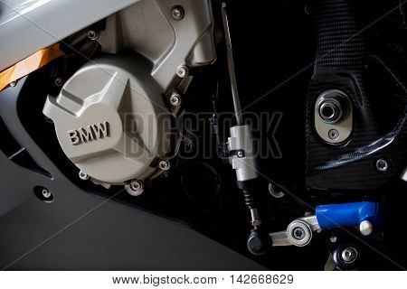 BANGKOK, THAILAND - AUGUST 11, 2016 : Closeup of BMW emblem on water-cooled in-line four-cylinder 999 cc. engine