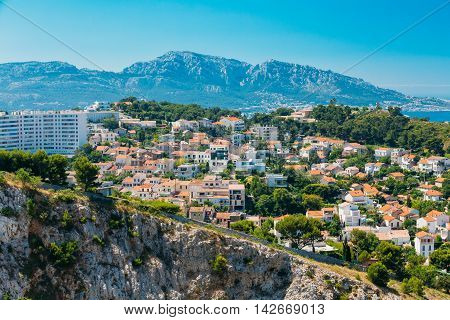 Urban Scenic View, Cityscape Of Marseille, France. Sunny Summer Day With Bright Blue Sky.