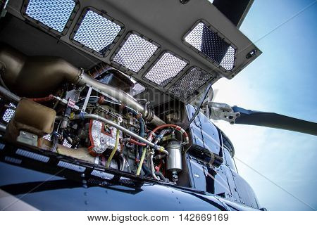 Motor Of Black With Gray Stripes Bell 407 Helicopter.