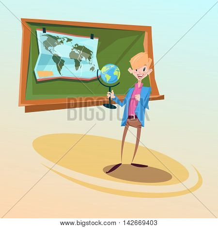School Teacher Hold Globe Geography Lesson Education Concept Flat Vector Illustration