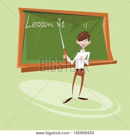 School Teacher Lesson Chalkboard Education Concept Flat Vector Illustration