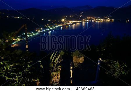 View On Agios Georgios Pagon On Corfu Island By Night