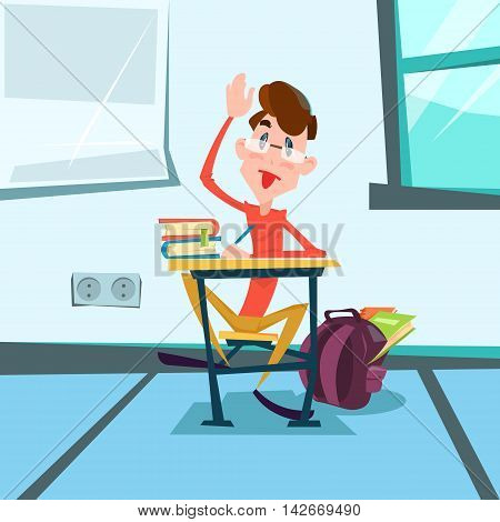 Schoolboy Sit School Desk Classroom Lesson Flat Vector Illustration