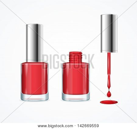 Red Nail Polish. Open, Closed Bottle and Drop with Brush. Vector illustration
