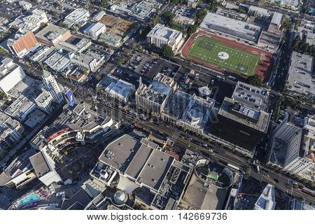 Los Angeles, California, USA - August 6, 2016:  Afternoon aerial view of Hollywood Blvd and Highland Av in Hollywood, California.