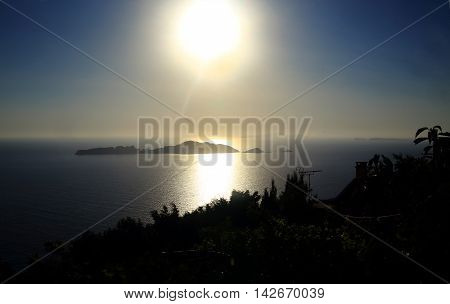 sundown/sunrise in the Mediterranean sea (corfu island greece)
