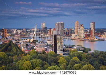 Rotterdam. Image of Rotterdam, Netherlands during twilight blue hour.