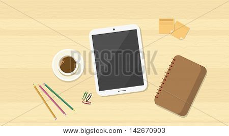 Workplace Wooden Desk Top Angle View Tablet Computer Flat Vector Illustration