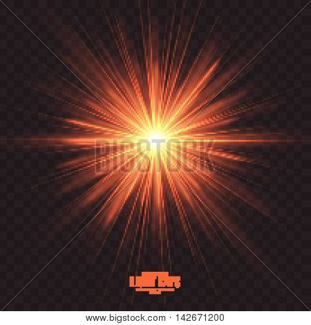 Abstract gleaming light rays vector background. Warm glint glowing effect on transparent backdrop. Design element. Celebration, holidays and party illustration