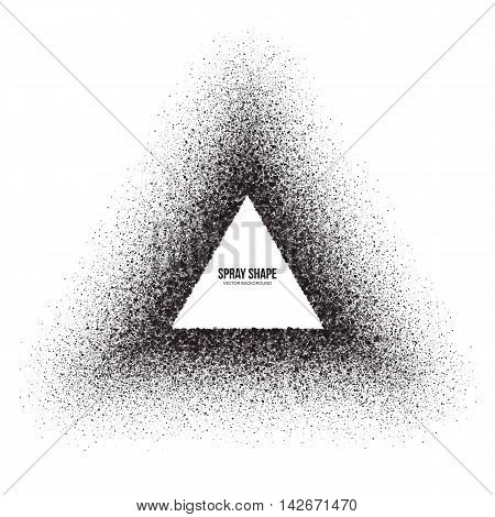 Vector spray effect abstract triangle shape. Scatter exploding black drops. Hand made grunge texture