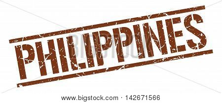 Philippines stamp. brown grunge square isolated sign