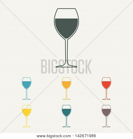 Wine glass icon or sign. Colorful vector illustration.