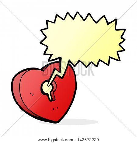 cartoon heart with keyhole with speech bubble