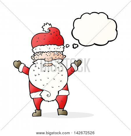 cartoon grumpy santa with thought bubble