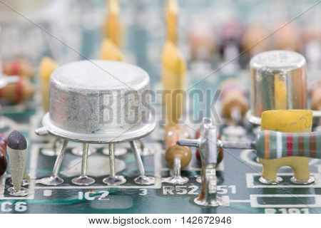 Closeup Electronic Hardware On The Circuit Board